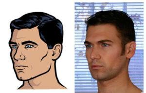 Comparaison entre l'apparence d'Archer et son modèle vivant