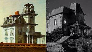Comparaison entre le tableau de Hopper et la maison dans Psychose puis Bates Motel