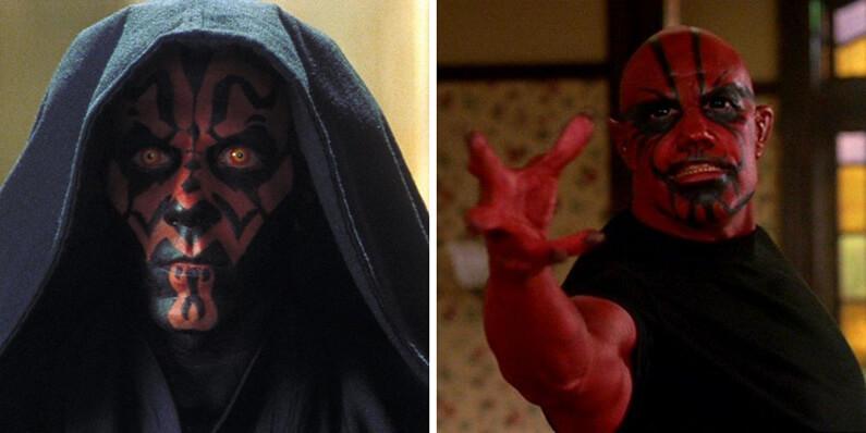 Comparaison des maquillages entre Darth Maul de Star Wars et Balthazar de Charmed