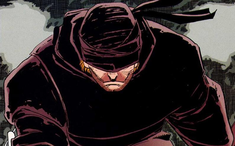 Illustration de Daredevil avec sa tenue noire par Frank Miller dans le comic The man without fear