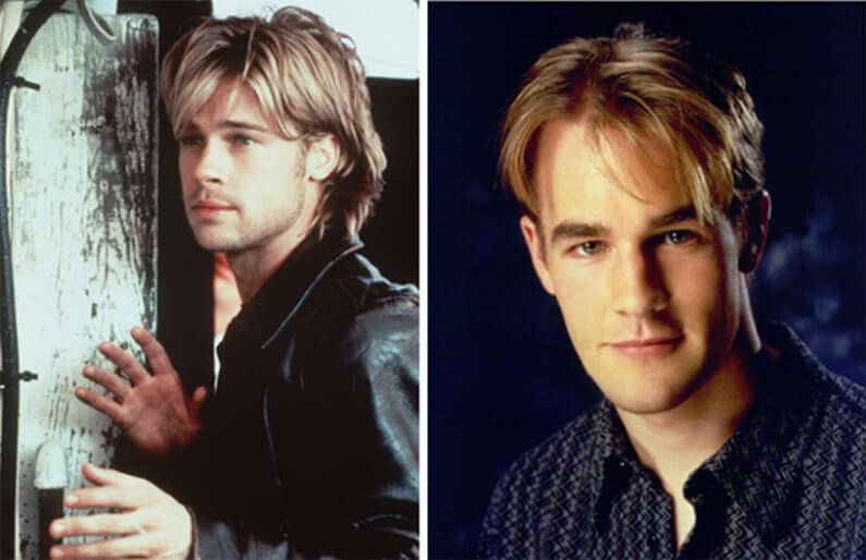 Comparaison entre la coupe de cheveux de Dawson et Bratt Pitt