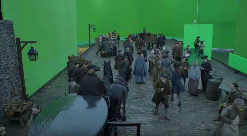 Une scène de Outlander avec utilisation extensive de fonds verts