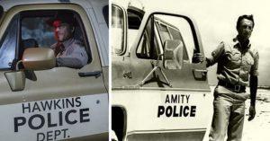 comparaison entre les deux voitures de police qui sont semblables entre Stranger Things et Les dents de la mer