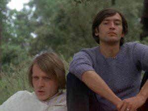 Daniel Pommereulle et Patrick Bauchau dans le film La collectionneuse de 1967