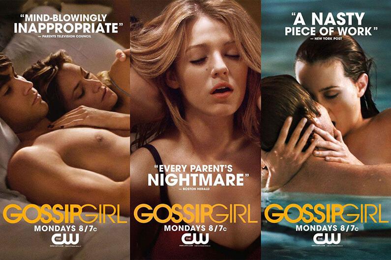 Affiches promotionelles de Gossip Girl où les personnages sont dans des situations très intimes