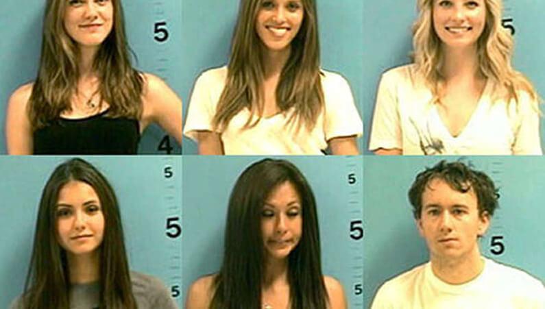 Photos anthropométriques des actrices et du caméraman de Vampire diaries arrêtés pour désordre public